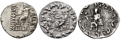 "Evolution of Zeus Nikephoros (""Zeus holding Nike"") on Indo-Greek coinage: from the Classical motif of Nike handing the wreath of victory to Zeus himself (left, coin of Heliocles I 145-130 BC), then to a baby elephant (middle, coin of Antialcidas 115-95 BC), and then to the Wheel of the Law, symbol of Buddhism (right, coin of Menander II 90–85 BC)."