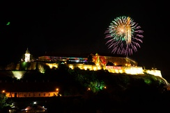 Petrovaradin Fortress in Novi Sad during the Exit Festival,  proclaimed as the Best Major European festival at the EU Festival Awards[383]