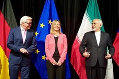 High Representative of the European Union for Foreign Affairs and Security Policy, Federica Mogherini, after reaching in Vienna the Iran nuclear deal framework