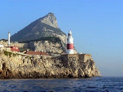 Europa Point as seen from the Strait of Gibraltar.