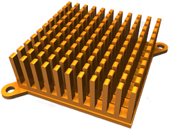 An artist's impression of a motherboard heat sink, rendered using POVRay