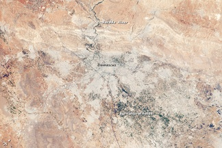 Annotated view of Damascus and surroundings from space.[30]