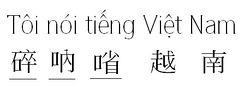 """I speak Vietnamese"" (Tôi nói tiếng Việt Nam - 碎呐㗂越南) is written in Latin (Vietnamese alphabet) or written in mixed scripts of chữ Hán (Chinese characters) and chữ Nôm (underline)."