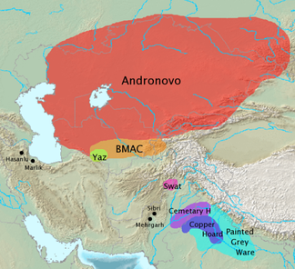 Archaeological cultures associated with Indo-Iranian migrations (after EIEC). The Andronovo, BMAC and Yaz cultures have often been associated with Indo-Iranian migrations. The GGC, Cemetery H, Copper Hoard and PGW cultures are candidates for cultures associated with Indo-Aryan movements.