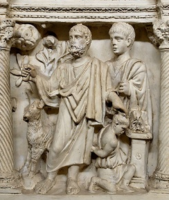 16th century plaster cast of a late Roman era Sacrifice of Isaac. The hand of God originally came down to restrain Abraham's knife (both are now missing).