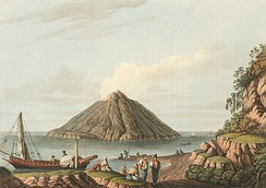 Stromboli in 1810, painted by Luigi Mayer