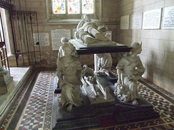 Monument to Sir John Hotham in St Mary's Church, South Dalton (near Scorborough),[7] supported by figures of the cardinal virtues