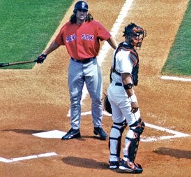 Damon at bat for the Red Sox in spring training 2005