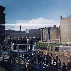US President John F. Kennedy visiting the Berlin Wall on 26 June 1963