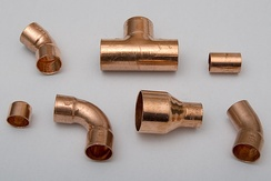 Copper fittings for soldered plumbing joints
