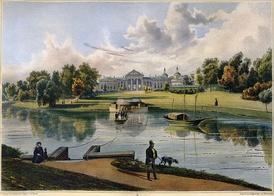 Господский дом. Южный фасад. Рис. Ж. Рауха, 1820-е гг.