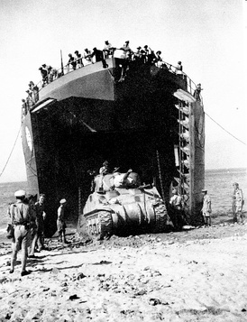 A Canadian LST off-loads an M4 Sherman during the Allied invasion of Sicily in 1943.