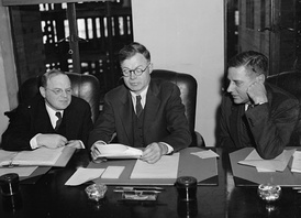 NLRB Member William M. Leiserson (left), J. Warren Madden, and NLRB Member Edwin S. Smith (right) during testimony before the Smith Committee on December 22, 1939.