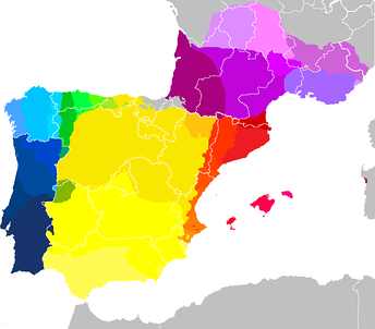 Map showing mostly contemporary West Iberian and Occitano-Romance languages, as well many of their mainland European dialects (take note that areas colored green, gold or pink/purple represent languages deemed endangered by UNESCO, so this may be outdated in less than a few decades). It shows European Portuguese, Galician, Eonavian, Mirandese and the Fala as not only closely related but as dialect continuum, though it excludes dialects spoken in insular Portugal (Azores and Madeira–Canaries is not shown either).