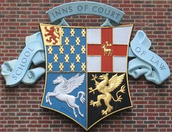 Combined arms of the four Inns of Court. Clockwise from top left: Lincoln's Inn, Middle Temple, Gray's Inn, Inner Temple.
