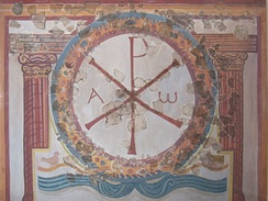 Fourth-century Chi-Rho fresco from Lullingstone Roman Villa, Kent, which contains the only known Christian paintings from the Roman era in Britain.[4]