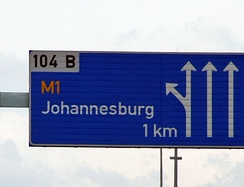 A board on the N3 indicating the exit for Johannesburg. The M1 is one of the busiest highways in Johannesburg.