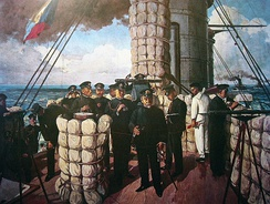 Painting of Admiral Heihachirō Tōgō on the bridge of the Japanese battleship Mikasa, before the Battle of Tsushima in 1905