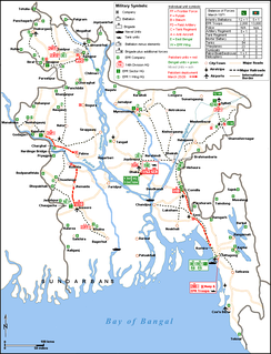 Location of Bengali and Pakistani military units during Operation Searchlight, March 1971
