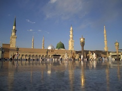 The Mosque of the Prophet in Medina containing the tomb of Muhammad