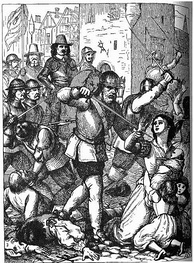 A 19th century representation of the Massacre at Drogheda, 1649