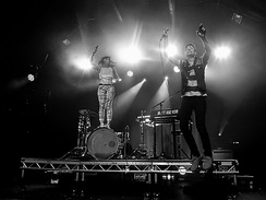 Matt and Kim performing in London in 2015.