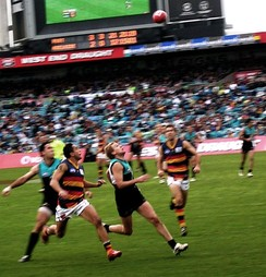 An AFL match between the Port Adelaide Power and the Adelaide Crows