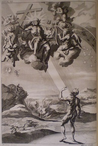 The Creation of Man, engraving from the 1688 edition, by John Baptist Medina.