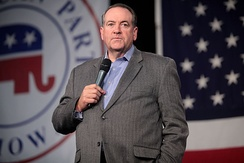 Huckabee speaking at an event hosted by the Iowa Republican Party in October 2015.