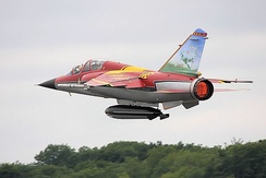 A Mirage F1B Royal performing a flight display at the 2008 Royal International Air Tattoo