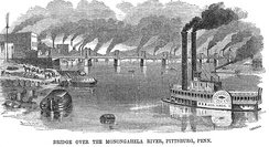 A historic 1857 scene of the Monongahela River in downtown Pittsburgh featuring a steamboat