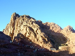 This is believed[by whom?] to be the Biblical Mount Sinai, where Moses first spoke to God (Arabic: الله Allāh)