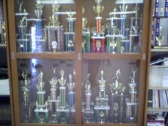 Some of the trophies earned by the NJROTC unit of Port Charlotte High School.