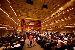 Interior of the David Geffen Hall before a concert by the New York Philharmonic
