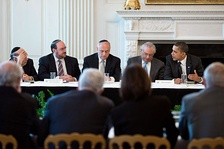 Democratic President Barack Obama at a Conference with Presidents of Major American Jewish Organizations