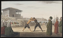 Ottoman wrestlers in the gardens of Topkapı Palace, in the 19th century