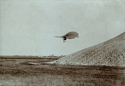 Otto Lilienthal in mid-flight, c. 1895