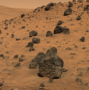 Martian sand and boulders photographed by NASA's Mars Exploration Rover Spirit