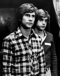 Cassidy (right) with Parker Stevenson in The Hardy Boys/Nancy Drew Mysteries