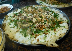 Mansaf, the traditional dish of Jordan. Inspired from Bedouin culture, it is a symbol of Jordanian hospitality.