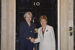 Prime Minister Theresa May meets First Minister of Scotland Nicola Sturgeon outside 10 Downing Street, the official residence of the British Prime Minister
