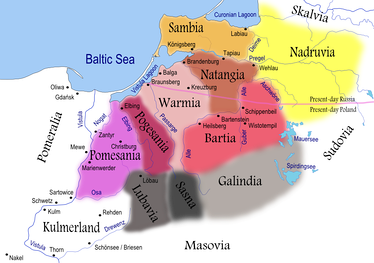 Map of Prussian tribes in the 13th century. The indicated cities/castles were built by the Teutonic Knights to facilitate the conquest.