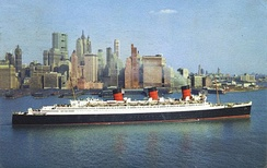 Queen Mary of 1936 (80,700 GRT) in New York (c. 1960)