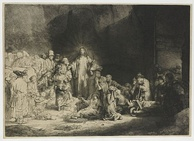 Christ Preaching, known as The Hundred Guilder Print, an etching by Rembrandt (ca. 1648). Rembrandt is generally considered the greatest etcher in the history of the medium (as an art in its own right).[1][2][3][4] His most important contribution in the history of printmaking was his transformation of the 17th-century etching process[5][6][7] from a hitherto relatively new craft into a truly admired art form in subsequent centuries,[8][9] especially in the 19th century.[10][11][12][13]