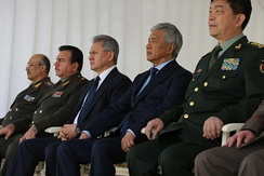 Russian defence minister Sergey Shoigu (center) with other defense ministers of the Shanghai Cooperation Organization in 2015.
