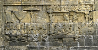 The bas relief of 8th century Borobudur depict a King and Queen with their subjects, the scene is based on Sailendran royal court.