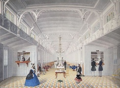 """Saloon of Mississippi River Steamboat 'Princess'(Adrien Persac, 1861),  showing elaborate interior of an antebellum Mississippi steamboat"
