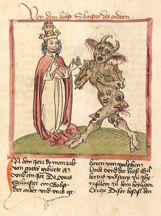 Medieval miniature depicting Pope Sylvester II consorting with Satan (c. 1460)