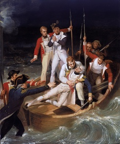 Nelson wounded during the battle of Santa Cruz de Tenerife; 1806 painting by Richard Westall