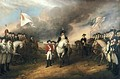 The surrender of Lord Cornwallis to French (left) and American (right) colonial forces after the battle of Yorktown (1781).